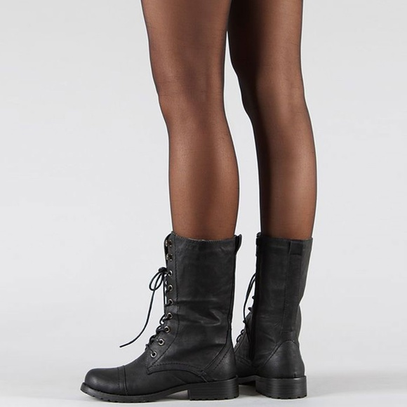 Women Studded Knee High Military Color Buckle Stacked Heels Tall Riding  Boots